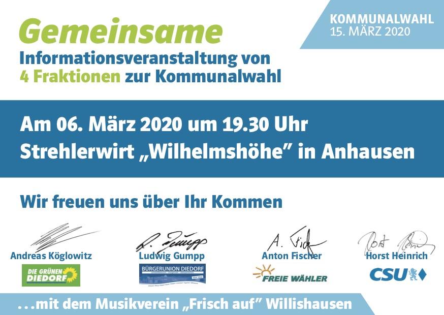 """Veranstaltung der 4 Fraktionen @ Strehlerwirt """"Wilhelmshöhe"""" in Anhausen"""